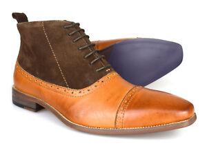 Neueste Mode Herrenschuhe Stiefel Gucinari Luciano Tan & Brown Leather Formal Brogue Boots D273-4 Free Uk P&p