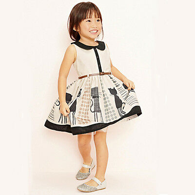 2015 Princess Baby Kids Girls Cat Belt Party Cotton Tulle Gown Dresses 2-7Y UK