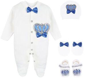 Lilax Baby Boy Jewels Crown Layette 4 Piece Gift Set 0-3 Months