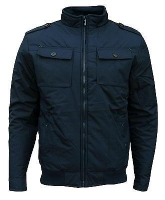 Soul Star Men's Preston Bomber Casual Jacket Coat Navy Small