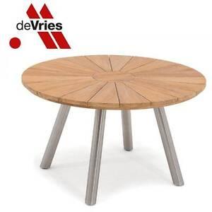 Devries Teak Edelstahl Fjord Tisch Rund O 130 Cm Runder Gartentisch