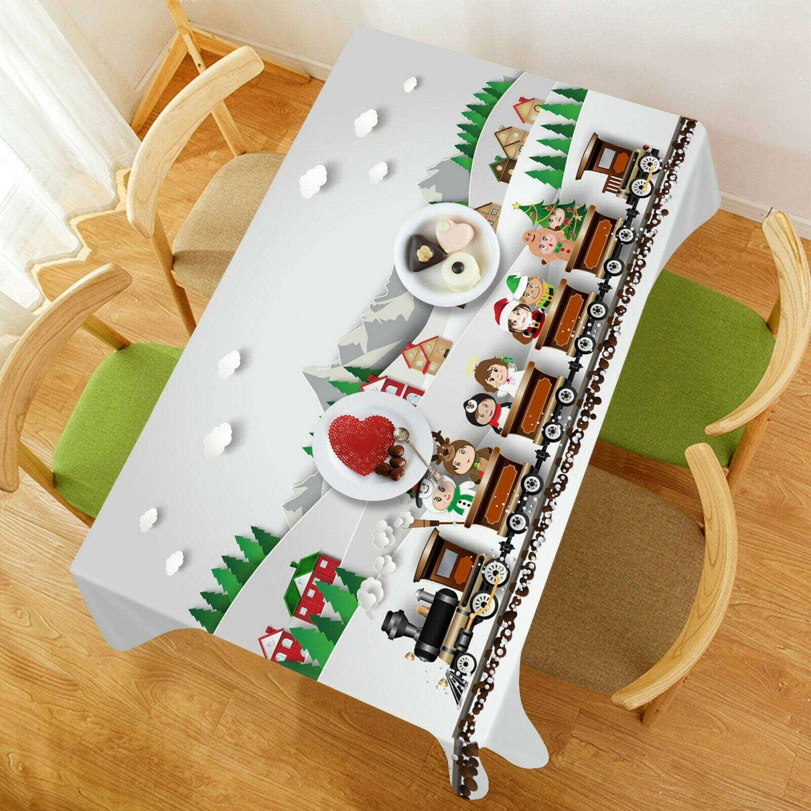 3D Cartoon Train I505 Christmas Tablecloth Table Cover Cloth Birthday Party Amy