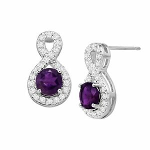 Natural-Amethyst-amp-White-Topaz-Infinity-Drop-Earrings-in-Sterling-Silver