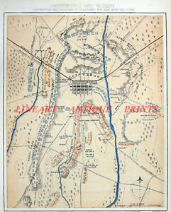 Civil-War-BATTLE-OF-GETTYSBURG-PENNSYLVANIA-MEADE-ROBERT-E-LEE-1877-MAP-PLAN