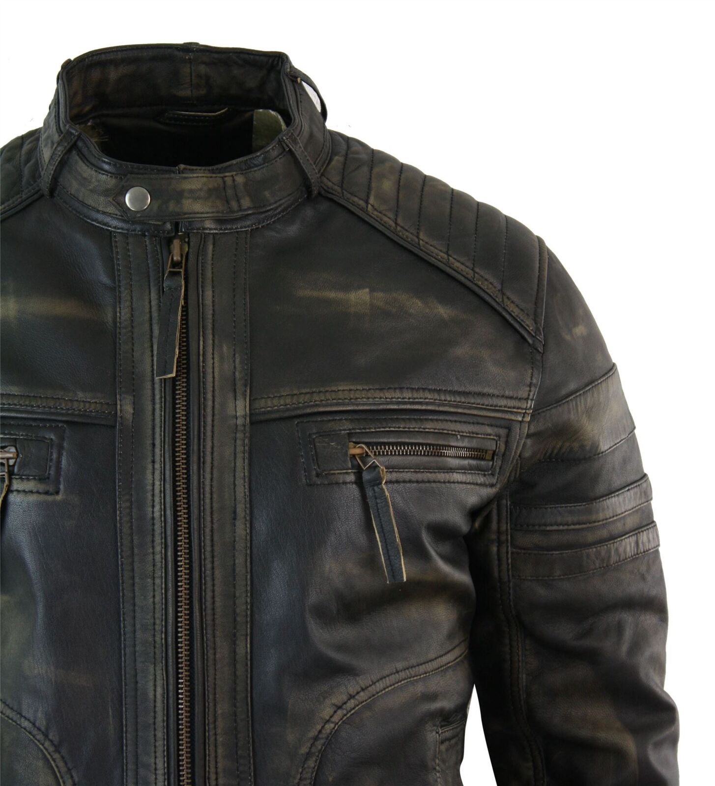 Veste Marron Style Biker Vintage Vieilli Homme Noir Véritable Cuir xrapZwxqf