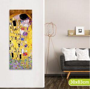Dettagli su Klimt il bacio 30 x 83 cm QUADRO MODERNO STAMPA SU TELA SALOTTO  SOGGIORNO CAMERA