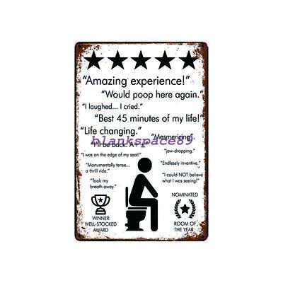 Metal Tin Sign funny  toilet feedback for Bar Pub Home Vintage Retro Poster