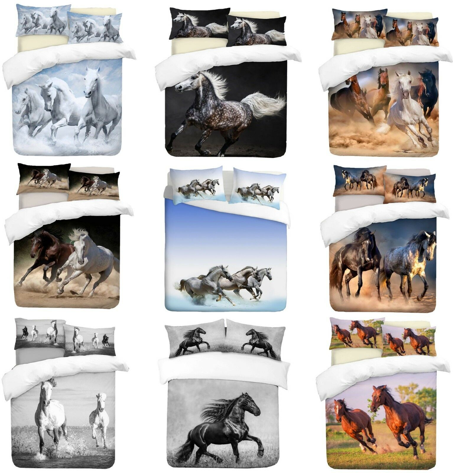 3D Horses Theme Photo Print Duvet Quilt Cover With Pillowcases Bedding Set