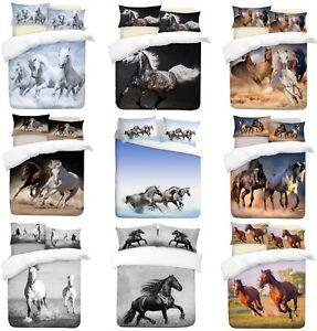 3D-Horses-Theme-Photo-Print-Duvet-Quilt-Cover-With-Pillowcases-Bedding-Set