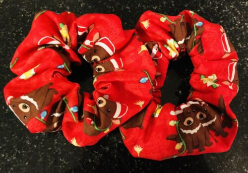 Handmade Australian Christmas Tasmanian Devil Print Hair Scrunchies