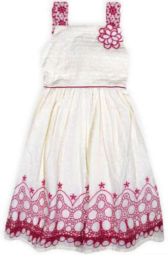 Girls New Embroidered Floral Summer Dress Kids Sleeveless Cotton Pink Age 2-7 Yr