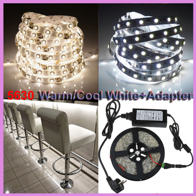 5M 10M 15M 5630 SMD 300 LED Strip Light Warm Cool White + 6A 12V Power Adapter
