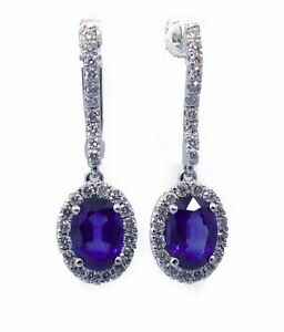 18Carat-White-Gold-Natural-Sapphire-amp-Diamond-Cluster-Drop-Earrings-2cms-1-50cts