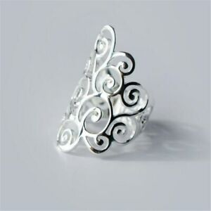 Ring-925-Sterling-Silber-gross-filigran-Verstellbarer-Schmuck-NEU