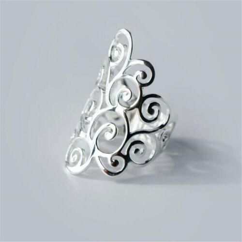 Ring 925 Sterling Silber groß filigran Verstellbarer Schmuck NEU