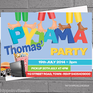 Details About Boys Sleepover Pyjama Kids Childrens Birthday Party Invitations X 12 Envs H0108