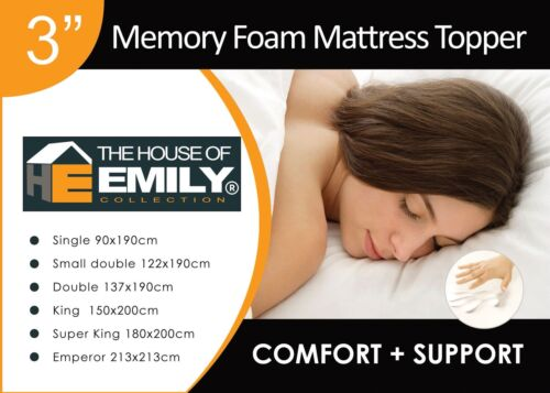 "3"" Memory Foam Mattress Topper 50kgm3 Density with Washable Zip Off Cover"