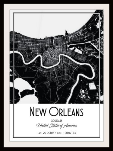 NEW ORLEANS CITY MAP POSTER PRINT MODERN CONTEMPORARY CITIES TRAVEL IKEA FRAMES