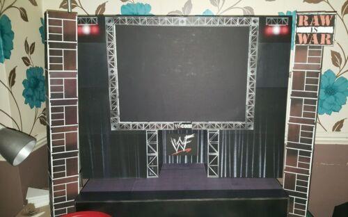 Actitud personalizado de WWE Raw es etapa de guerra Para Figuras Lucha Libre más grande escala