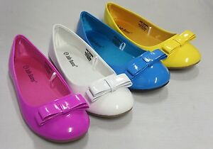 Girl-Flats-Patent-w-Bow-Rosa-Kid-Flower-Girl-Pageant-White-Yellow-Blue-Magenta