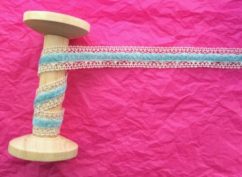 25mm Ivory Lace /& Pale Blue Velvet Ribbon Trim Metre