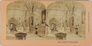 Italia Roma Vaticano Interno, Foto Stereo Vintage Albumina