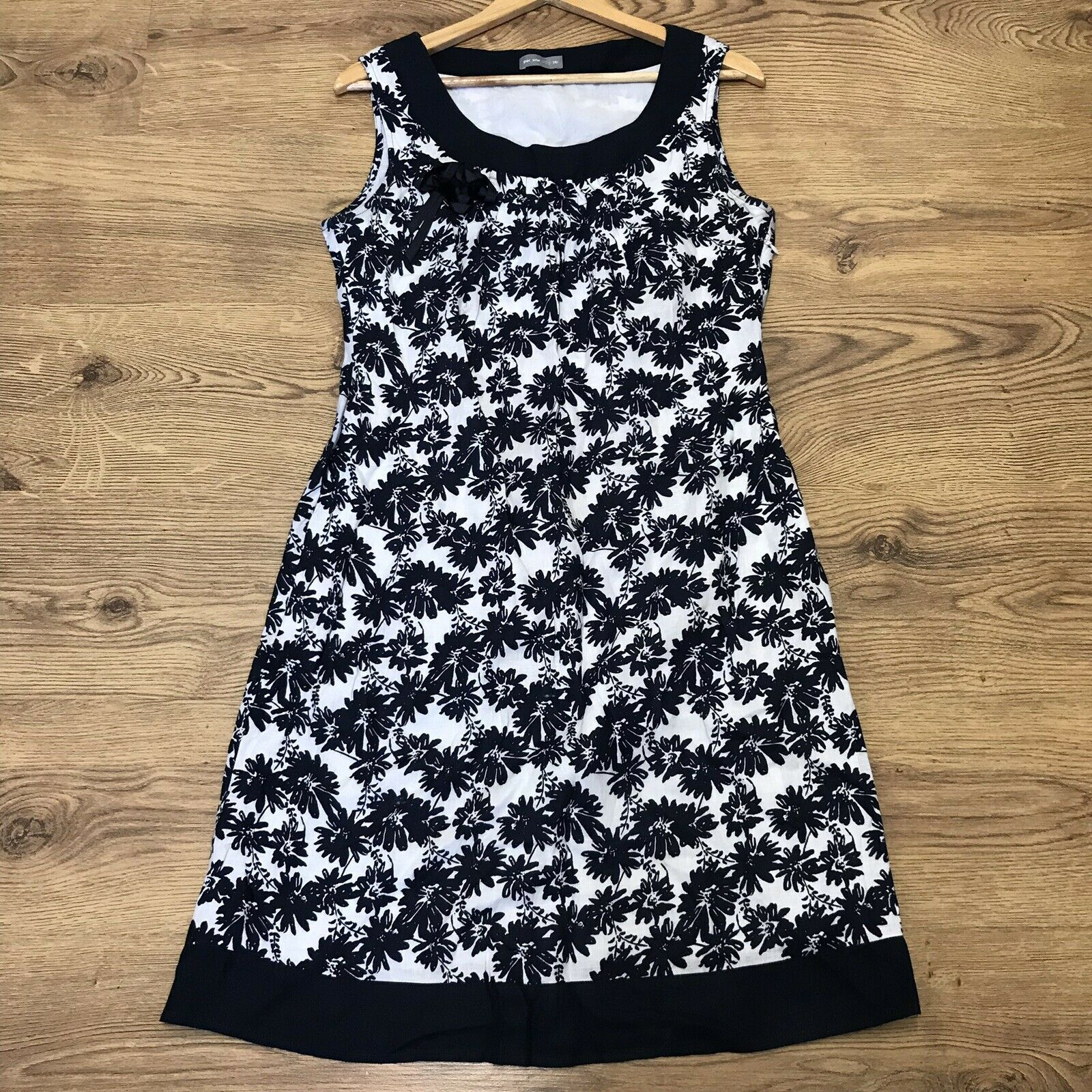 Per Una M&S Womens Blue Floral Linen Sleeveless Dress Size 14R