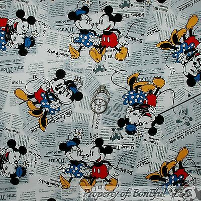 BonEful Fabric BTY Cotton Quilt B&W Red Dot Minnie Mickey Mouse Disney Newspaper