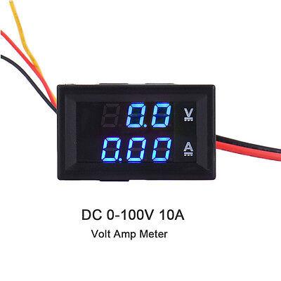 DC 100V 10A LED Digital Dual Display Volt Amp Meter Voltage Voltmeter Ammeter US