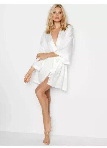 New Victoria/'s Secret Bride Robe Bling White Satin Bridal Kimono O//S  F2813