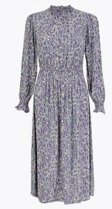 M-amp-S-Floral-smock-Waisted-Midi-Dress-Size-18-Lilac-Mix-Bohemian-new