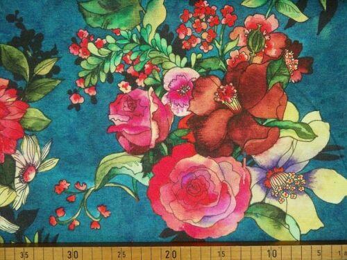 0,50 m Dekostoff Blüten Ornamente Vögel Baumwolle bunt Sto CAA 0820 073 080 2052