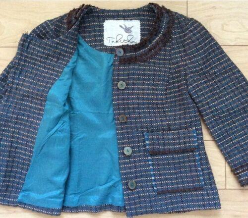 Tag Jacket Blue Nw 4 Size Ulster Tabitha Tag Motif Tweed Anthropologie FUqOxnt