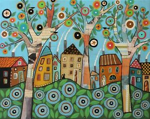 Merry-Village-16-x-20-ORIG-Mixed-Media-CANVAS-PAINTING-Folk-Art-Karla-Gerard