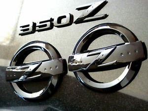 Brillo-Negro-350Z-Z-Logo-emblema-insignia-Set-Kit-Fairlady-350-bodykit