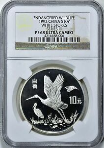 China-1992-S10Y-Silver-Endangered-Life-Series-III-White-Storks-NGC-Proof-68-UC