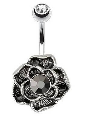 TITANIUM Black Flower/Rose - Belly Bar - Pick Bar Length: 6mm 8mm 10mm 12mm 14mm