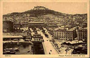 NAPOLI-Neapel-Cartolina-Italia-Piazza-Municipio-verduta-Postkarte-Italien-1910
