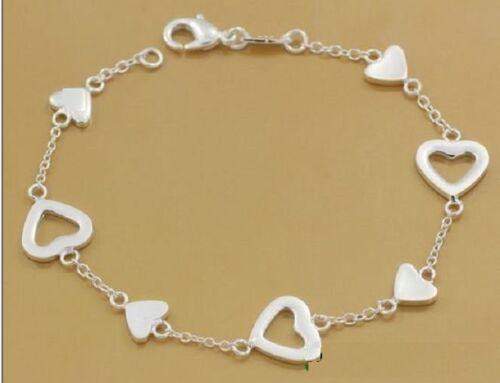 versilbertes  Armband mit Herzen Herzarmband Silberarmband Liebesarmband