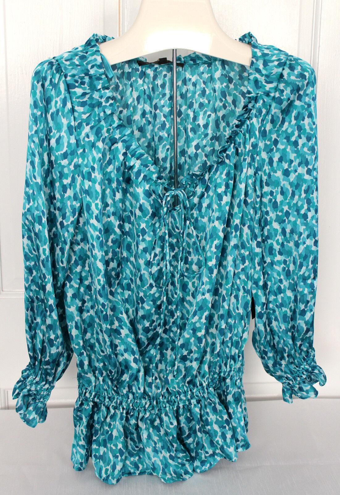 NWT Cynthia Steffe True Teal Aqua Blau Weiß Designer Blouse Sexy Airy Top XS