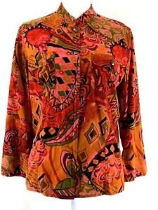CHICOS-womens-button-shirt-SIZE-1-M-pink-orange-green-3-4-sleeves-cotton-J428