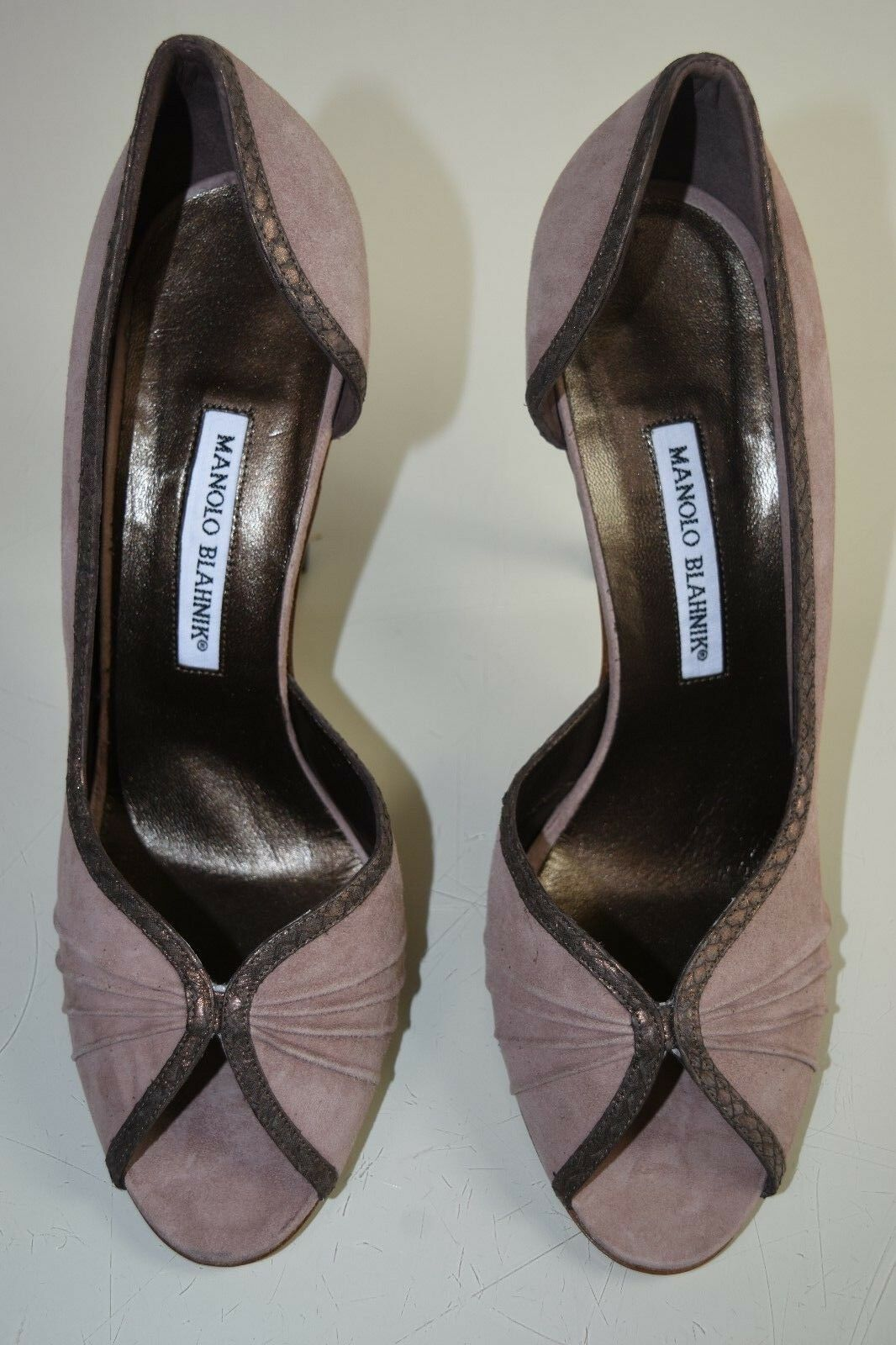 New MANOLO MANOLO MANOLO BLAHNIK Snake trim BEIGE BROWN suede DECI Peep toe SHOES HEELS 41.5 b750cc