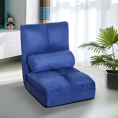 5-Position Floor Lazy Sofa Chair Adjustable Folding Couch Bed Blue