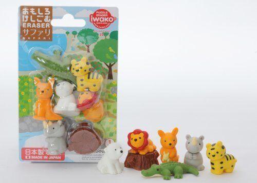 Iwako Animals Erasers Safari Set of 7 Japan