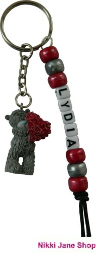 Me To You Personalised Name Keyring Tatty Teddy Charm Red Roses Heart