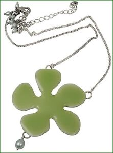 NEW-PILGRIM-SILVER-PLATED-NECKLACE-GREEN-ENAMEL-BIG-FLOWER-Pendant-amp-PEARLS