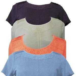 Una-damas-bordado-en-hombro-M-amp-S-Per-T-Shirt-Top