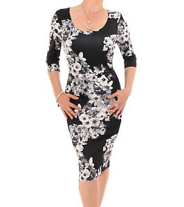 New-Black-and-White-Floral-Shift-Dress-Knee-Length