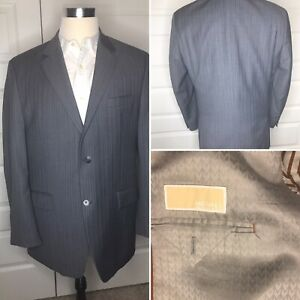 42R-Michael-Kors-Gray-Blue-Stripe-Wool-Men-039-s-Double-Vent-Sport-Coat-Blazer