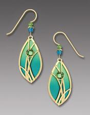 Adajio Earrings Azure & Peridot Teardrop with Gold Plated Reeds Handmade in USA